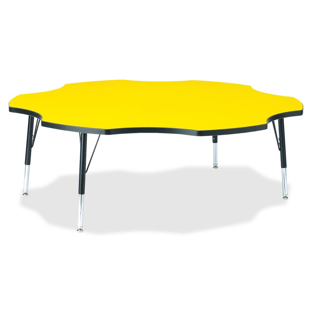 "Jonti-Craft Berries Toddler Black Edge Six-leaf Table - Laminated, Yellow Top - Four Leg Base - 4 Legs - 1.13"" Table Top Thickness x 60"" Table Top Diameter - 15"" Height - Assembly Required - Powder Co. Picture 2"