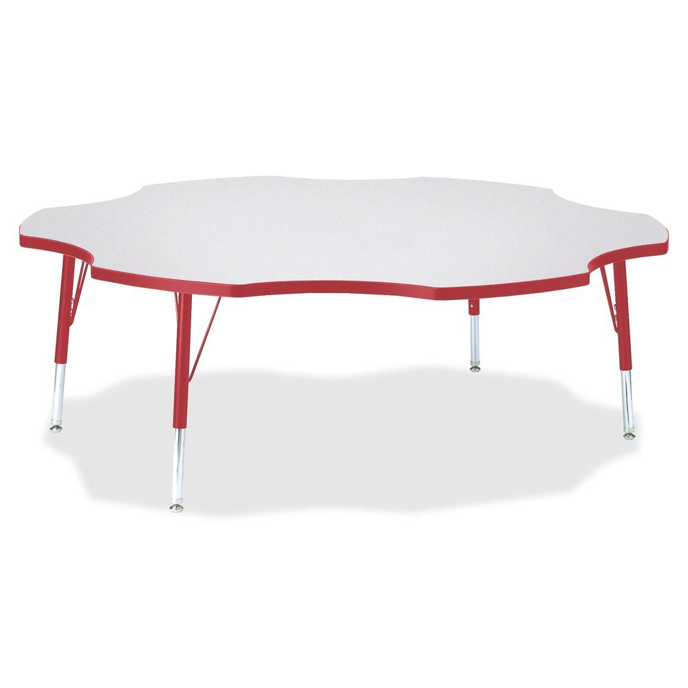 "Berries Prism Six-Leaf Student Table - Laminated, Red Top - Four Leg Base - 4 Legs - 1.13"" Table Top Thickness x 60"" Table Top Diameter - 15"" Height - Assembly Required - Powder Coated. Picture 3"