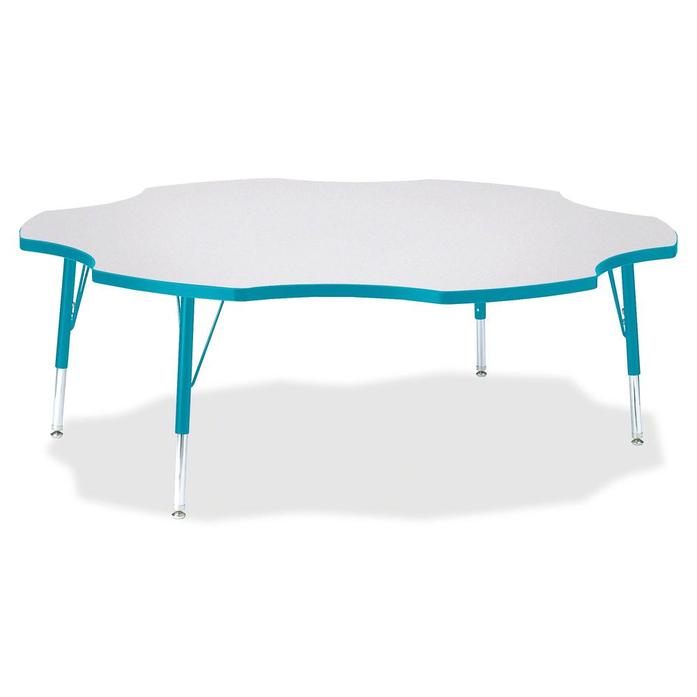 """Berries Prism Six-Leaf Student Table - Laminated, Teal Top - Four Leg Base - 4 Legs - 1.13"""" Table Top Thickness x 60"""" Table Top Diameter - 15"""" Height - Assembly Required - Powder Coated. Picture 2"""