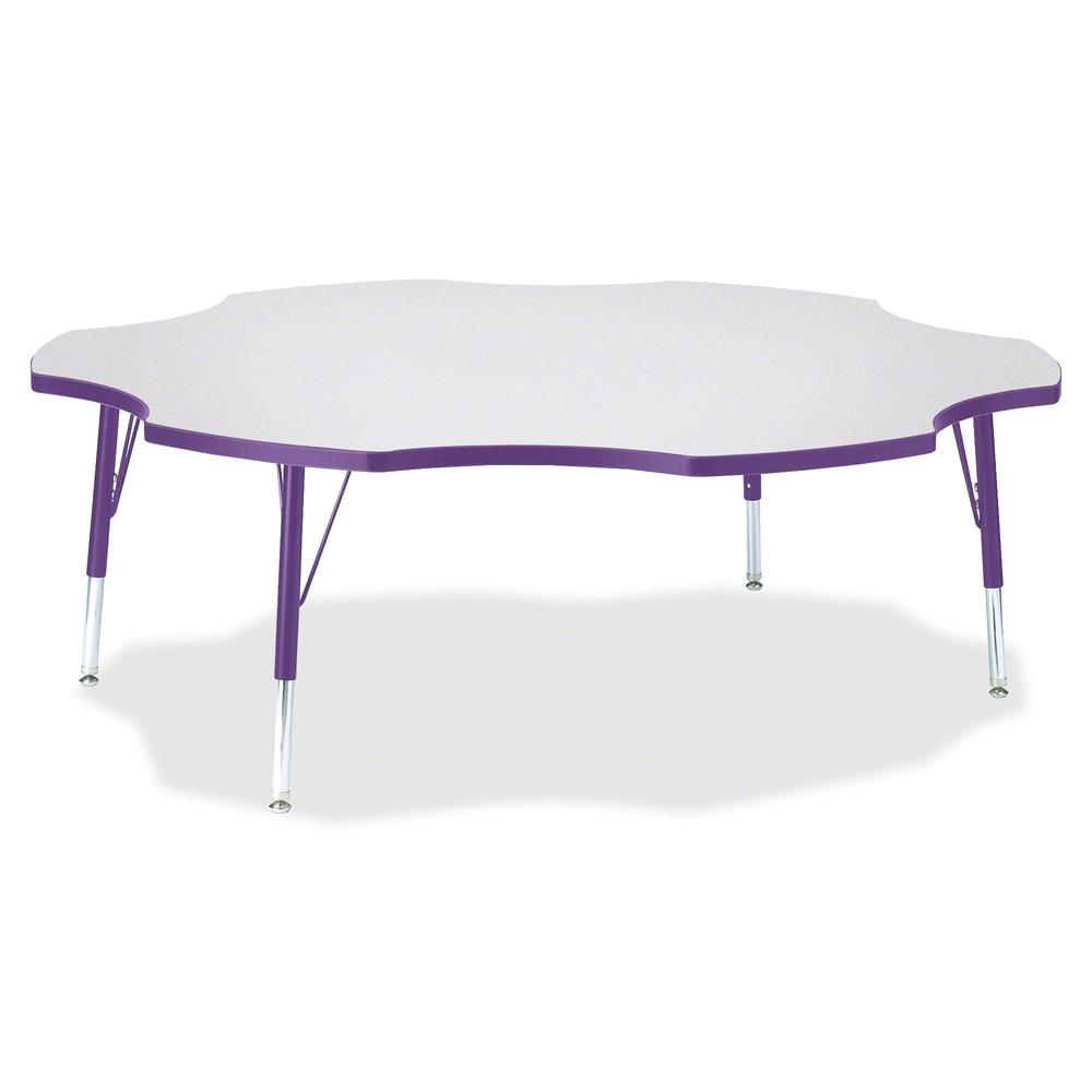 "Jonti-Craft Berries Prism Six-Leaf Student Table - Laminated, Purple Top - Four Leg Base - 4 Legs - 1.13"" Table Top Thickness x 60"" Table Top Diameter - 15"" Height - Assembly Required - Powder Coated. Picture 2"