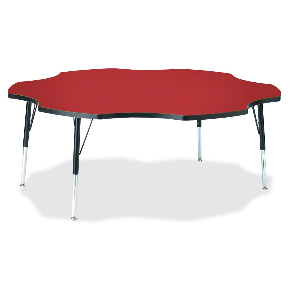 """Berries Elementary Black Edge Six-leaf Table - Laminated, Red Top - Four Leg Base - 4 Legs - 1.13"""" Table Top Thickness x 60"""" Table Top Diameter - 24"""" Height - Assembly Required - Powder Coated. Picture 2"""