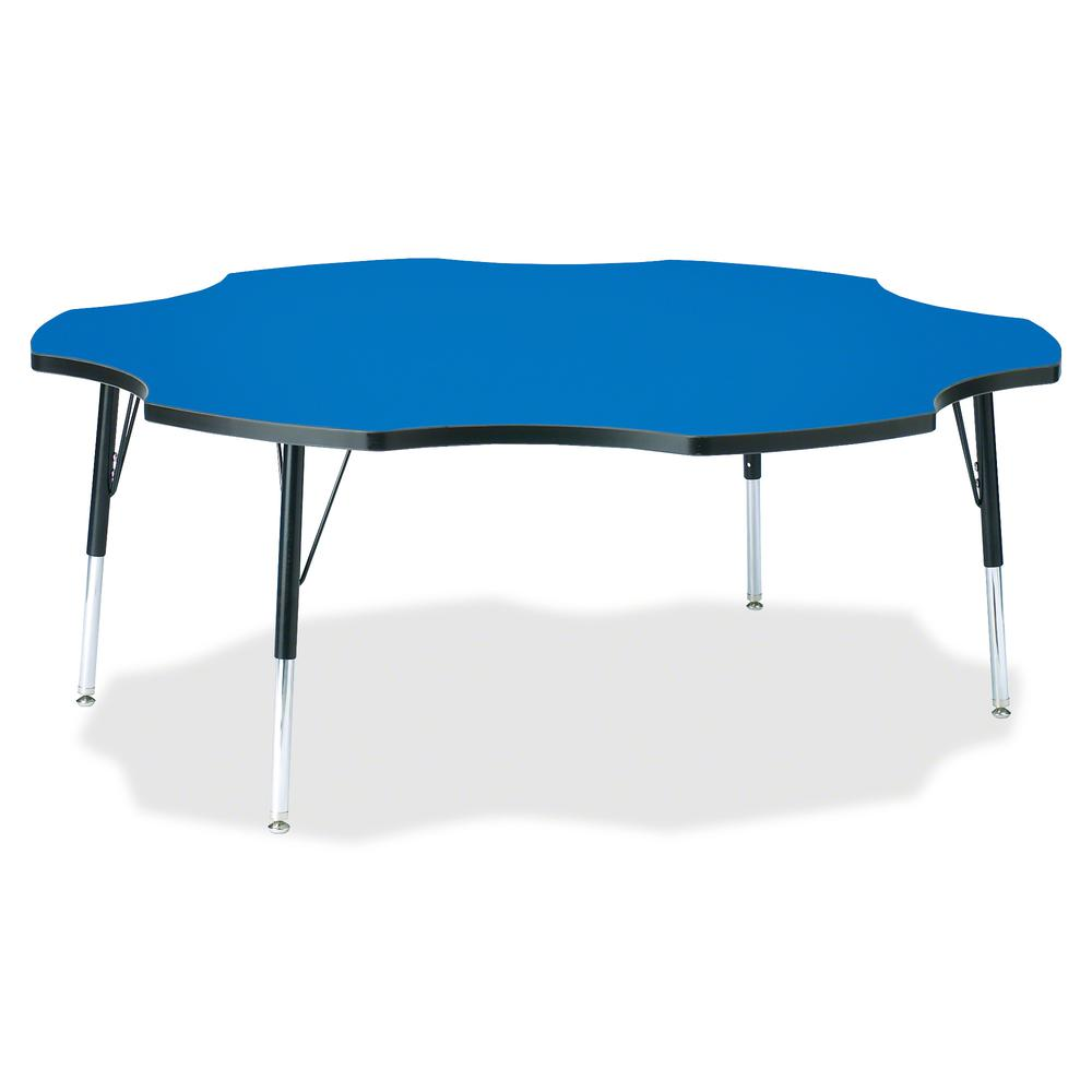"Jonti-Craft Berries Elementary Black Edge Six-leaf Table - Blue, Laminated Top - Four Leg Base - 4 Legs - 1.13"" Table Top Thickness x 60"" Table Top Diameter - 24"" Height - Assembly Required - Powder C. Picture 2"