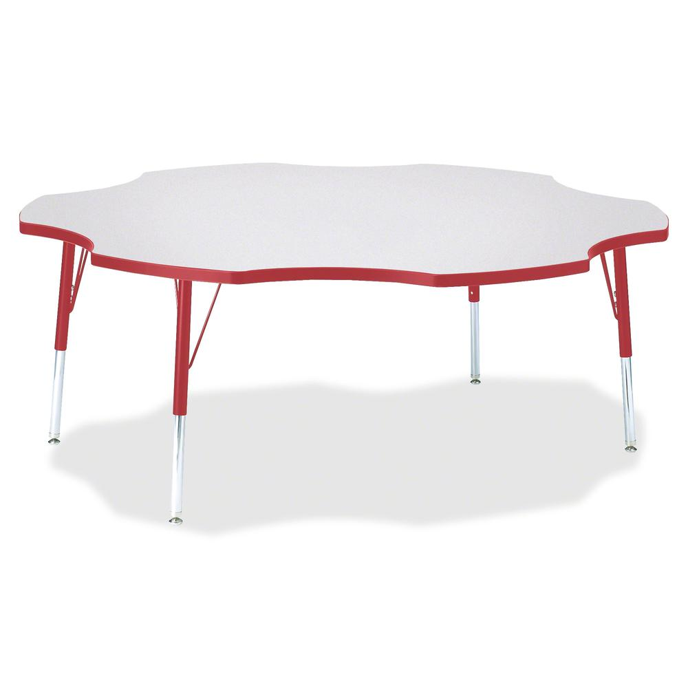 """Berries Elementary Height Prism Six-Leaf Table - Laminated, Red Top - Four Leg Base - 4 Legs - 1.13"""" Table Top Thickness x 60"""" Table Top Diameter - 24"""" Height - Assembly Required - Powder Coated. Picture 2"""