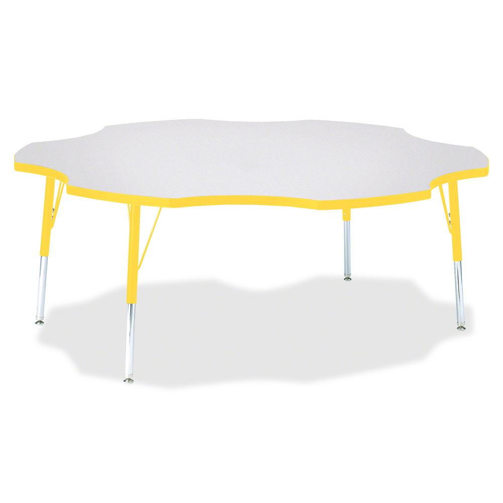 """Berries Elementary Height Prism Six-Leaf Table - Laminated, Yellow Top - Four Leg Base - 4 Legs - 1.13"""" Table Top Thickness x 60"""" Table Top Diameter - 24"""" Height - Assembly Required - Powder Coated. Picture 3"""