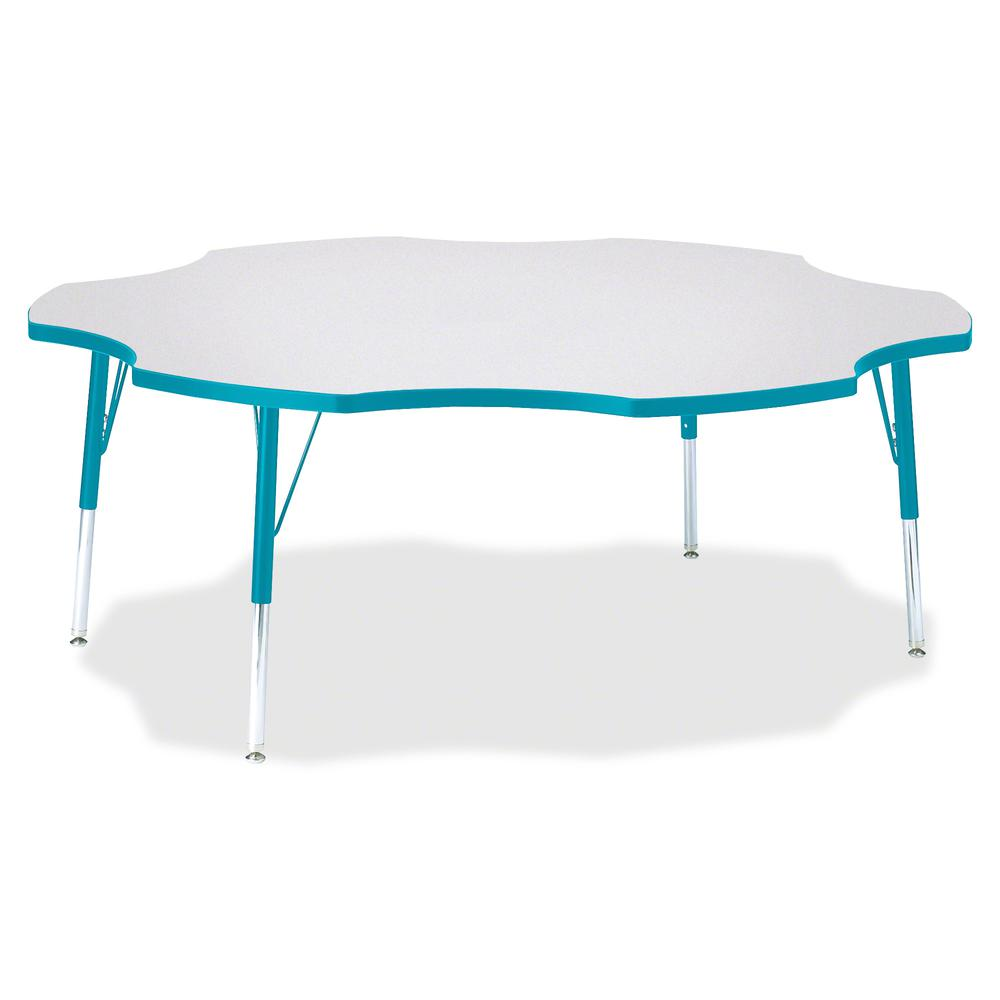 """Jonti-Craft Berries Elementary Height Prism Six-Leaf Table - Laminated, Teal Top - Four Leg Base - 4 Legs - 1.13"""" Table Top Thickness x 60"""" Table Top Diameter - 24"""" Height - Assembly Required - Powder. Picture 2"""