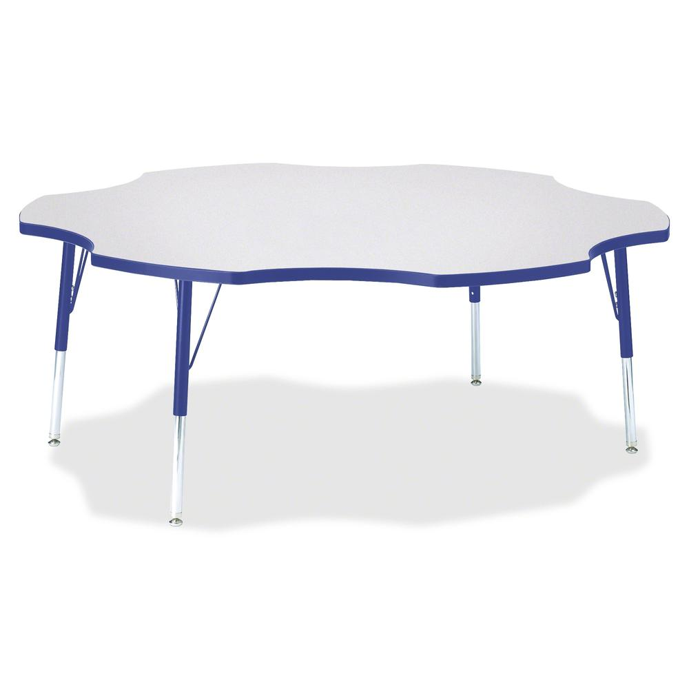 """Berries Elementary Height Prism Six-Leaf Table - Blue, Laminated Top - Four Leg Base - 4 Legs - 1.13"""" Table Top Thickness x 60"""" Table Top Diameter - 24"""" Height - Assembly Required - Powder Coated. Picture 2"""