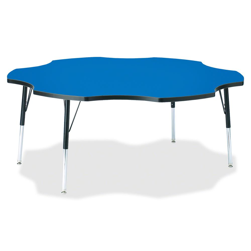 """Berries Adult Black Edge Six-leaf Table - Blue, Laminated Top - Four Leg Base - 4 Legs - 1.13"""" Table Top Thickness x 60"""" Table Top Diameter - 31"""" Height - Assembly Required - Powder Coated. Picture 2"""