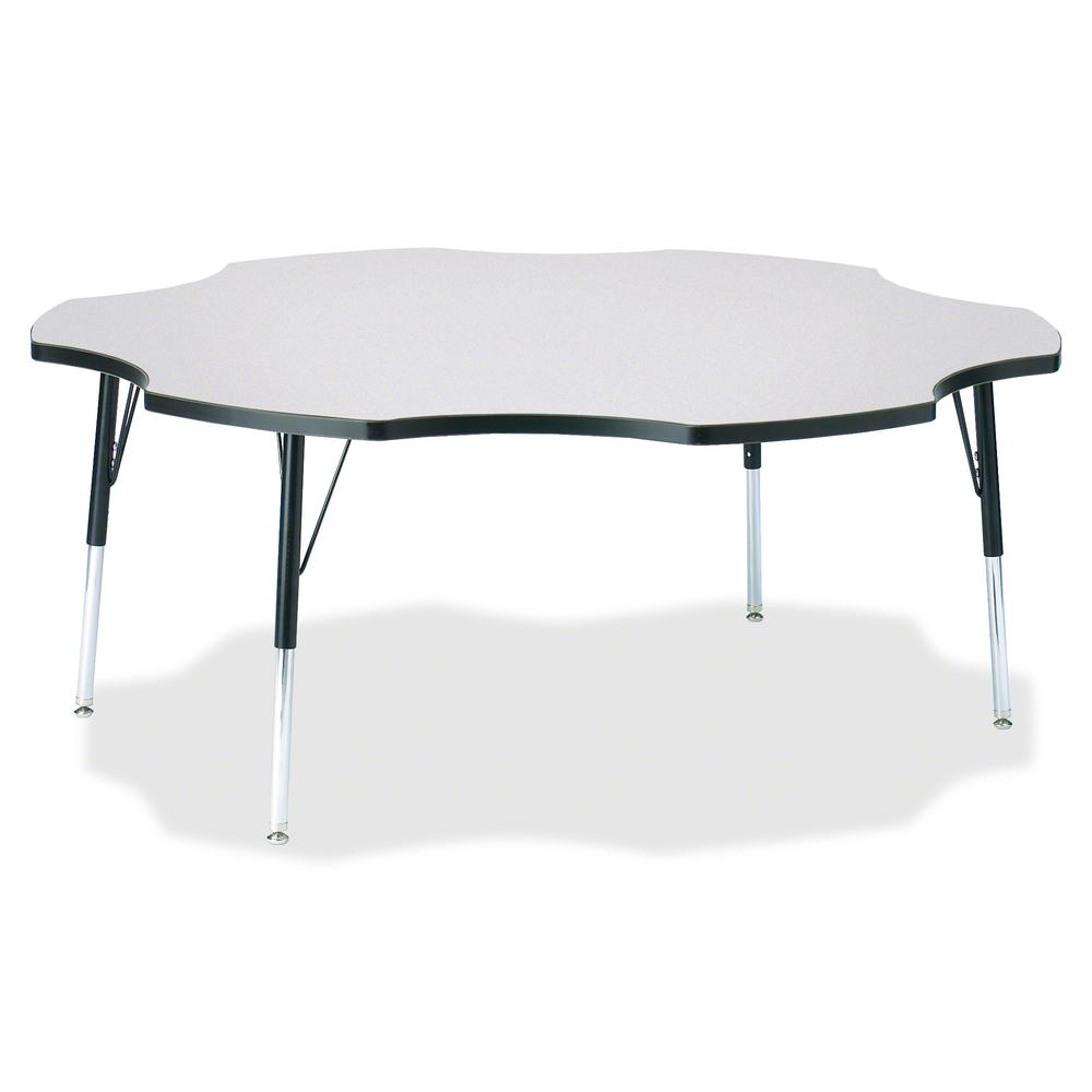"""Berries Prism Six-Leaf Student Table - Black, Laminated Top - Four Leg Base - 4 Legs - 1.13"""" Table Top Thickness x 60"""" Table Top Diameter - 31"""" Height - Assembly Required - Powder Coated. Picture 2"""