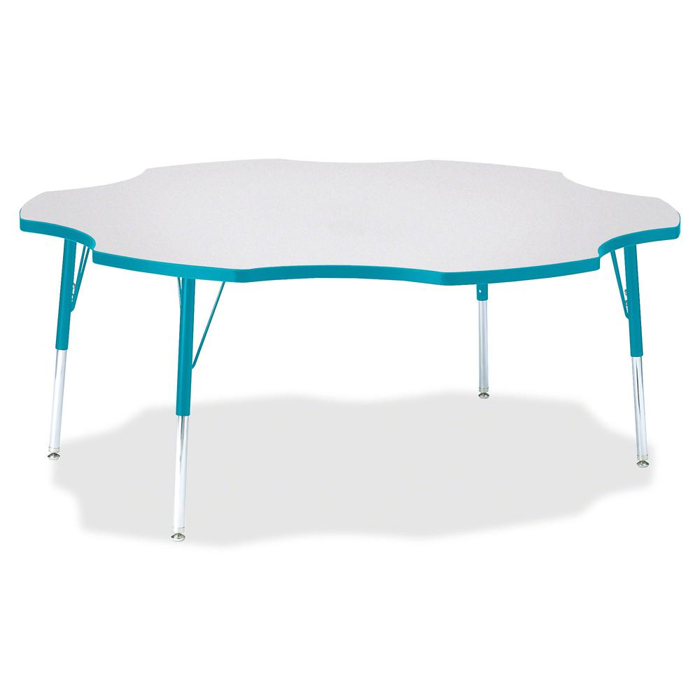 """Berries Prism Six-Leaf Student Table - Laminated, Teal Top - Four Leg Base - 4 Legs - 1.13"""" Table Top Thickness x 60"""" Table Top Diameter - 31"""" Height - Assembly Required - Powder Coated. Picture 2"""