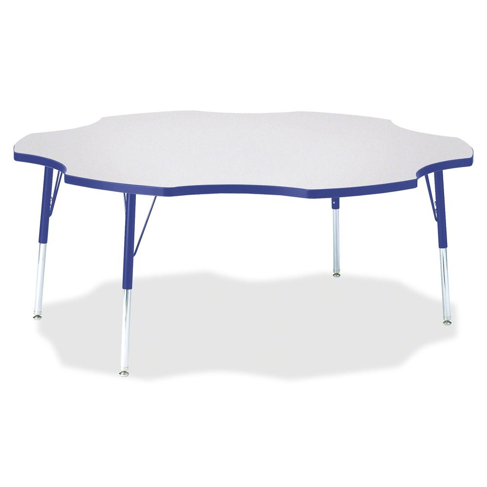 """Jonti-Craft Berries Prism Six-Leaf Student Table - Gray, Laminated Top - Four Leg Base - 4 Legs - 1.13"""" Table Top Thickness x 60"""" Table Top Diameter - 31"""" Height - Assembly Required - Powder Coated. Picture 2"""