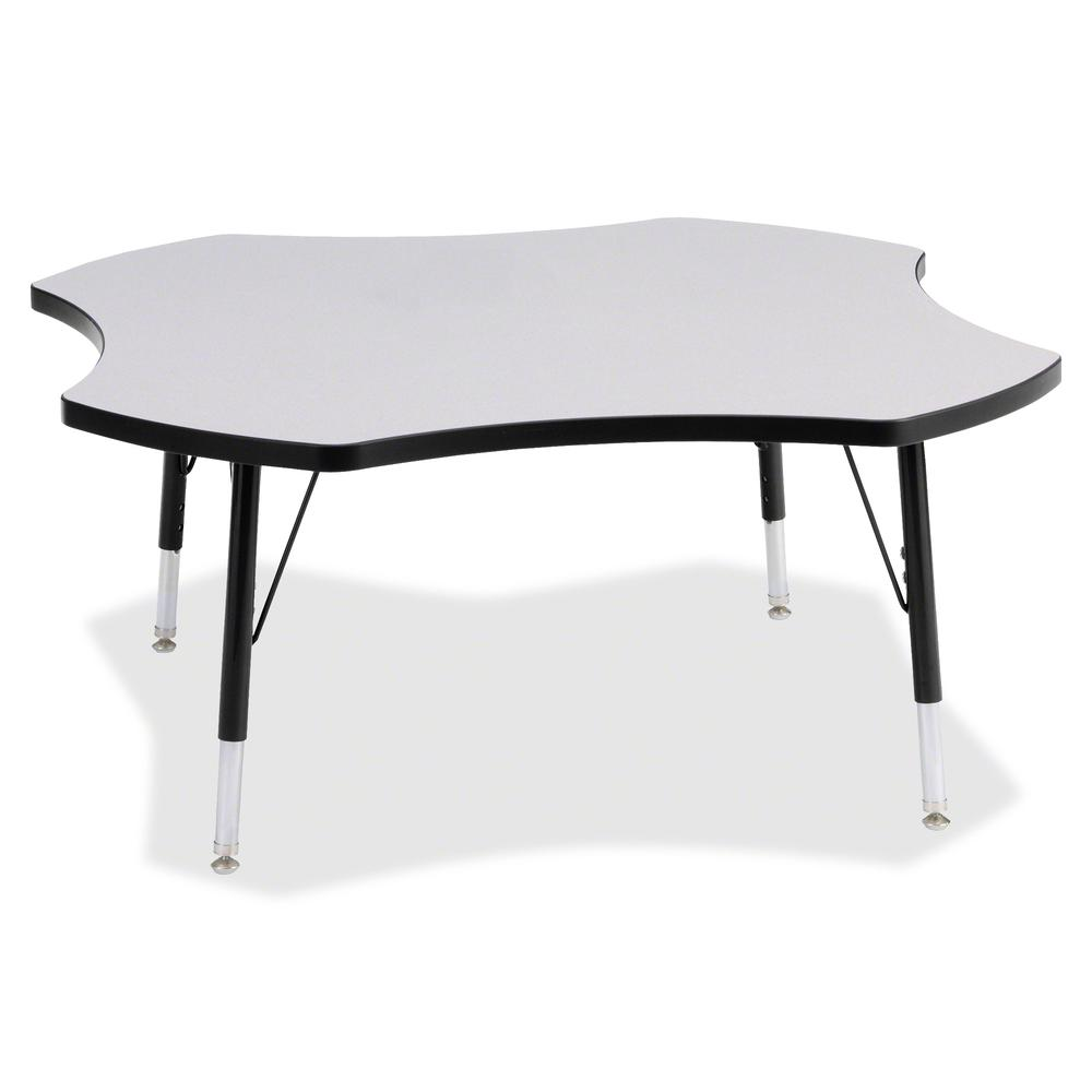 """Berries Prism Four-Leaf Student Table - Black, Laminated Top - Four Leg Base - 4 Legs - 1.13"""" Table Top Thickness x 48"""" Table Top Diameter - 15"""" Height - Assembly Required - Powder Coated. Picture 3"""