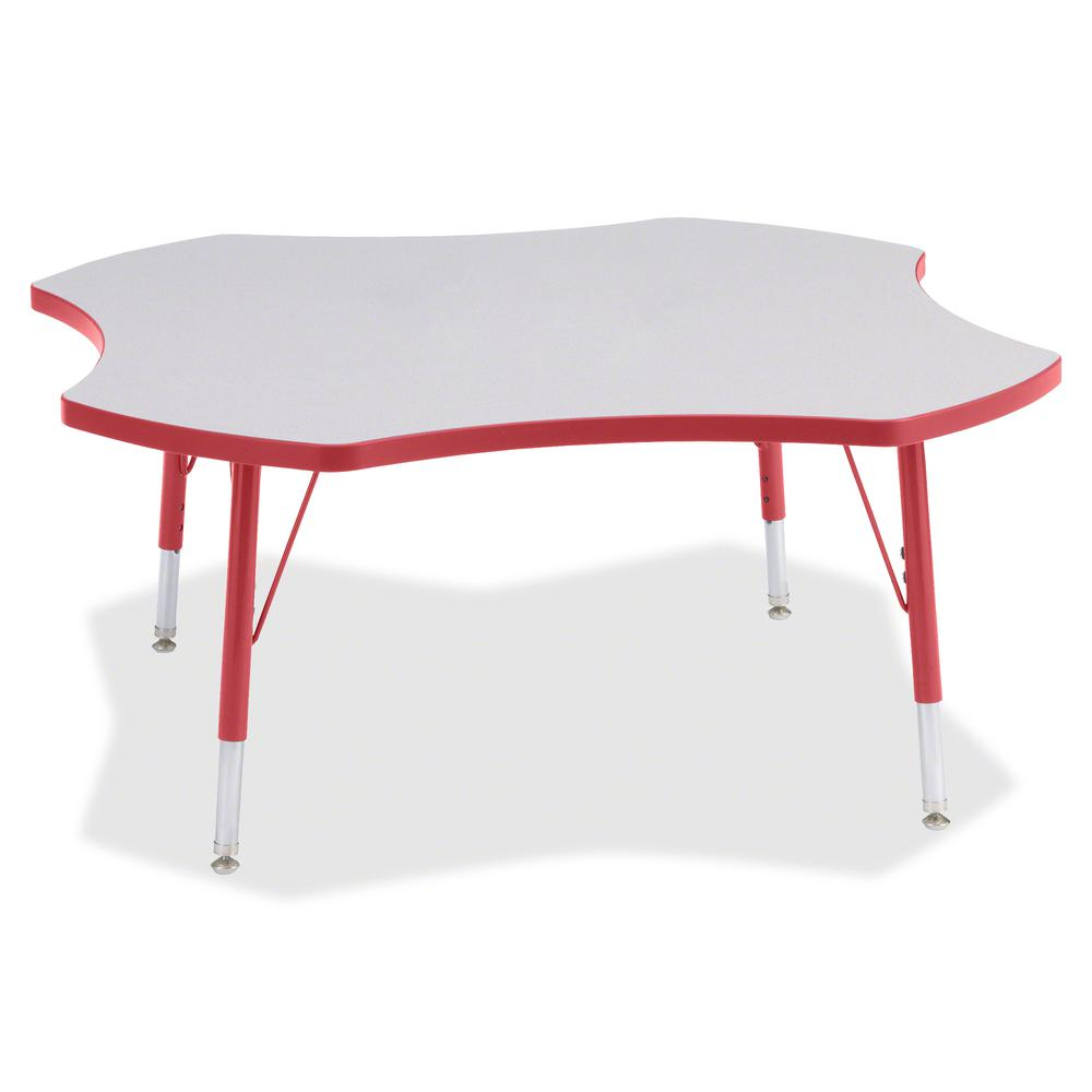 """Berries Prism Four-Leaf Student Table - Laminated, Red Top - Four Leg Base - 4 Legs - 1.13"""" Table Top Thickness x 48"""" Table Top Diameter - 15"""" Height - Assembly Required - Powder Coated. Picture 2"""
