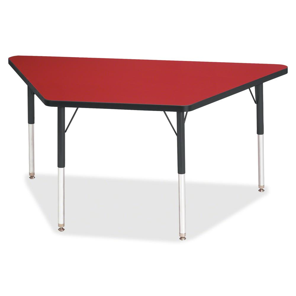 "Berries Adult-Size Classic Color Trapezoid Table - Laminated Trapezoid, Red Top - Four Leg Base - 4 Legs - 60"" Table Top Length x 30"" Table Top Width x 1.13"" Table Top Thickness - 31"" Height - Assembl. Picture 2"