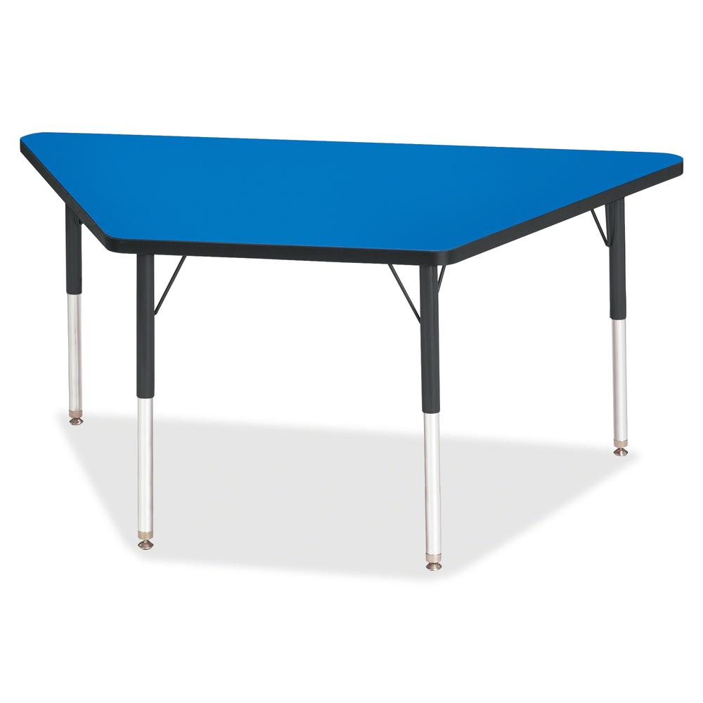 "Berries Adult-Size Classic Color Trapezoid Table - Blue Trapezoid, Laminated Top - Four Leg Base - 4 Legs - 60"" Table Top Length x 30"" Table Top Width x 1.13"" Table Top Thickness - 31"" Height - Assemb. Picture 2"