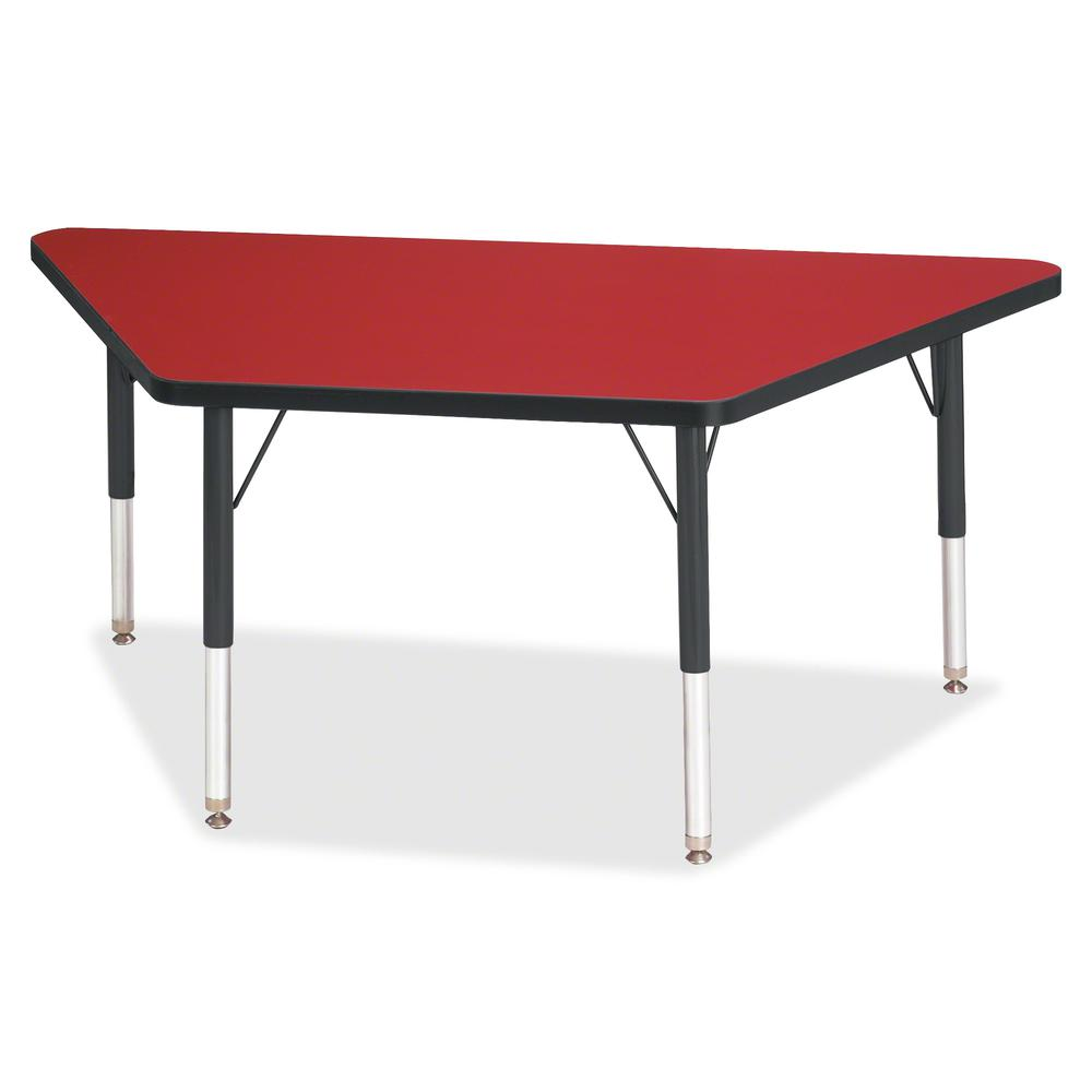 "Berries Black Edge Toddler Height Trapezoid Table - Laminated Trapezoid, Red Top - Four Leg Base - 4 Legs - 48"" Table Top Length x 24"" Table Top Width x 1.13"" Table Top Thickness - 15"" Height - Assemb. Picture 2"