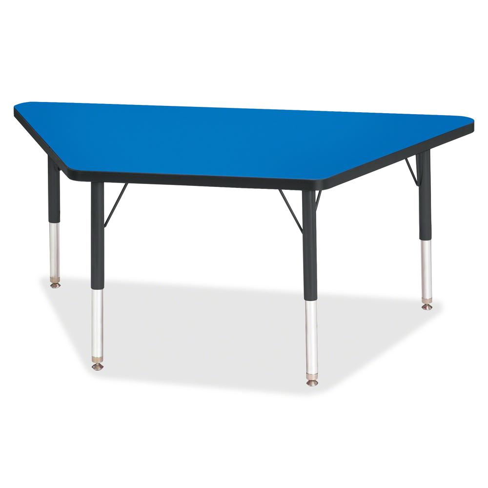 "Berries Black Edge Toddler Height Trapezoid Table - Blue Trapezoid, Laminated Top - Four Leg Base - 4 Legs - 48"" Table Top Length x 24"" Table Top Width x 1.13"" Table Top Thickness - 15"" Height - Assem. Picture 2"