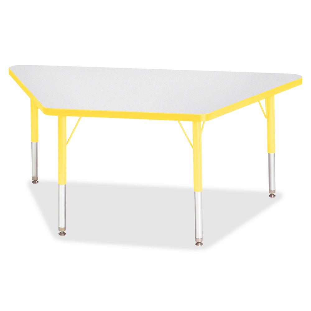 """Jonti-Craft Berries Toddler-size Gray Top Trapezoid Table - Laminated Trapezoid, Yellow Top - Four Leg Base - 4 Legs - 48"""" Table Top Length x 24"""" Table Top Width x 1.13"""" Table Top Thickness - 15"""" Heig. Picture 3"""