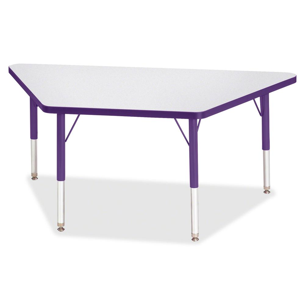 "Jonti-Craft Berries Toddler-size Gray Top Trapezoid Table - Laminated Trapezoid, Purple Top - Four Leg Base - 4 Legs - 48"" Table Top Length x 24"" Table Top Width x 1.13"" Table Top Thickness - 15"" Heig. Picture 2"