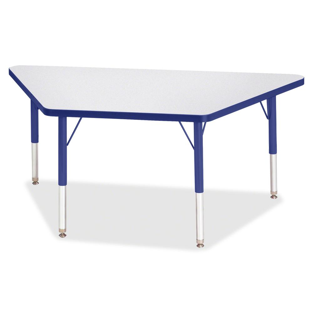 """Berries Toddler-sz Gray Top Trapezoid Table - Blue Trapezoid, Laminated Top - Four Leg Base - 4 Legs - 48"""" Table Top Length x 24"""" Table Top Width x 1.13"""" Table Top Thickness - 15"""" Height - Assembly Re. Picture 3"""