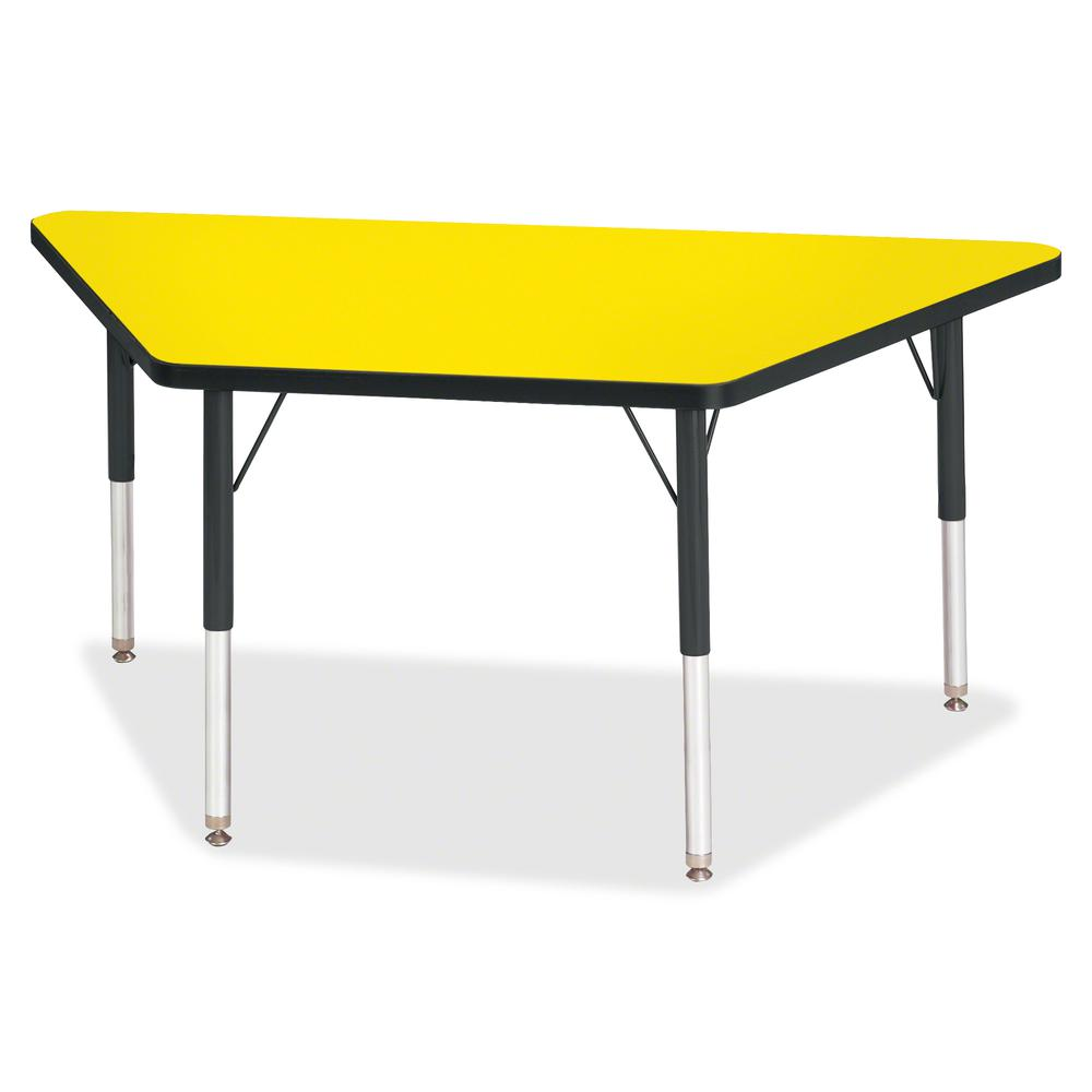 "Berries Elementary Height Classic Trapezoid Table - Laminated Trapezoid, Yellow Top - Four Leg Base - 4 Legs - 48"" Table Top Length x 24"" Table Top Width x 1.13"" Table Top Thickness - 24"" Height - Ass. Picture 2"