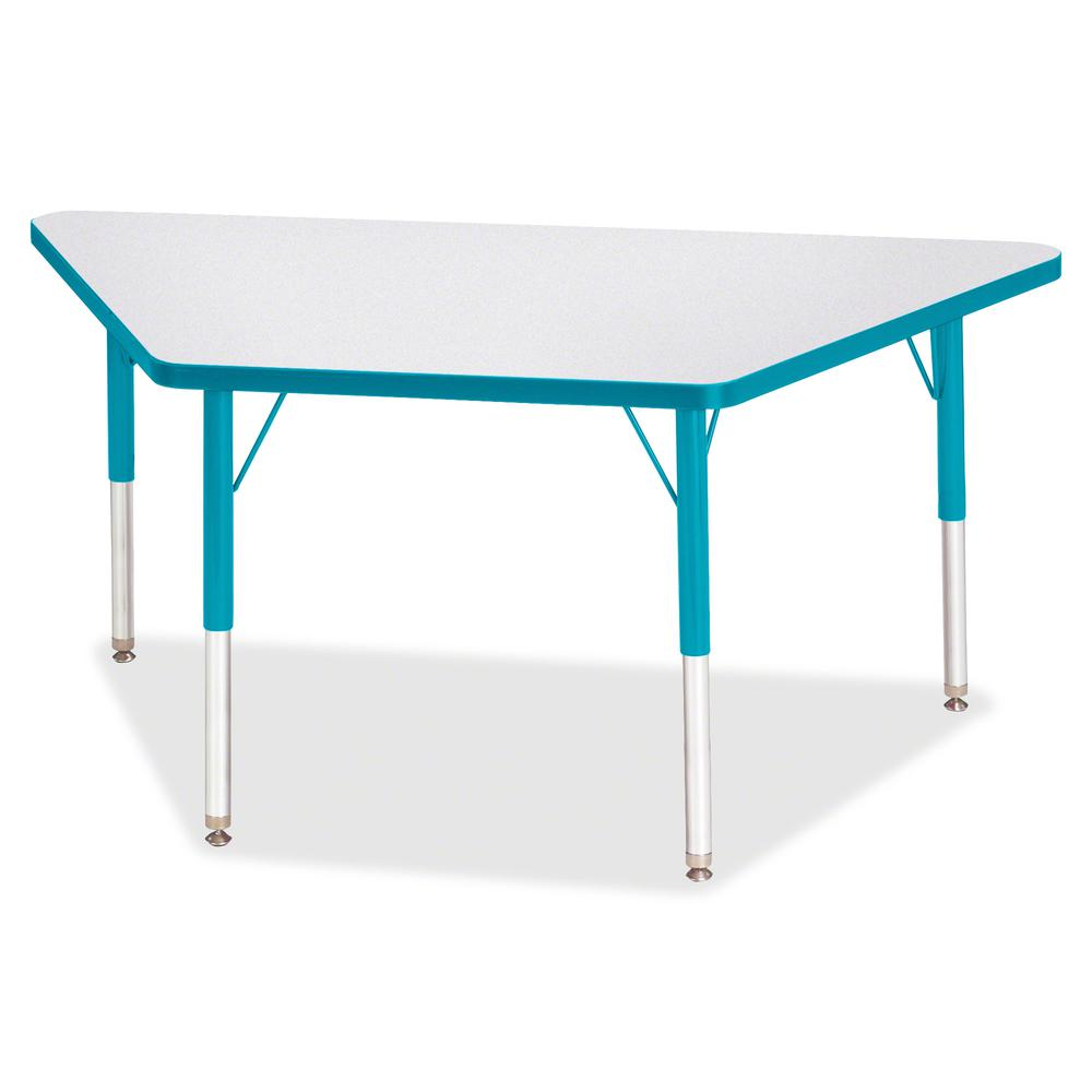 """Berries Elementary Height Prism Edge Trapezoid Table - Laminated Trapezoid, Teal Top - Four Leg Base - 4 Legs - 48"""" Table Top Length x 24"""" Table Top Width x 1.13"""" Table Top Thickness - 24"""" Height - As. Picture 2"""