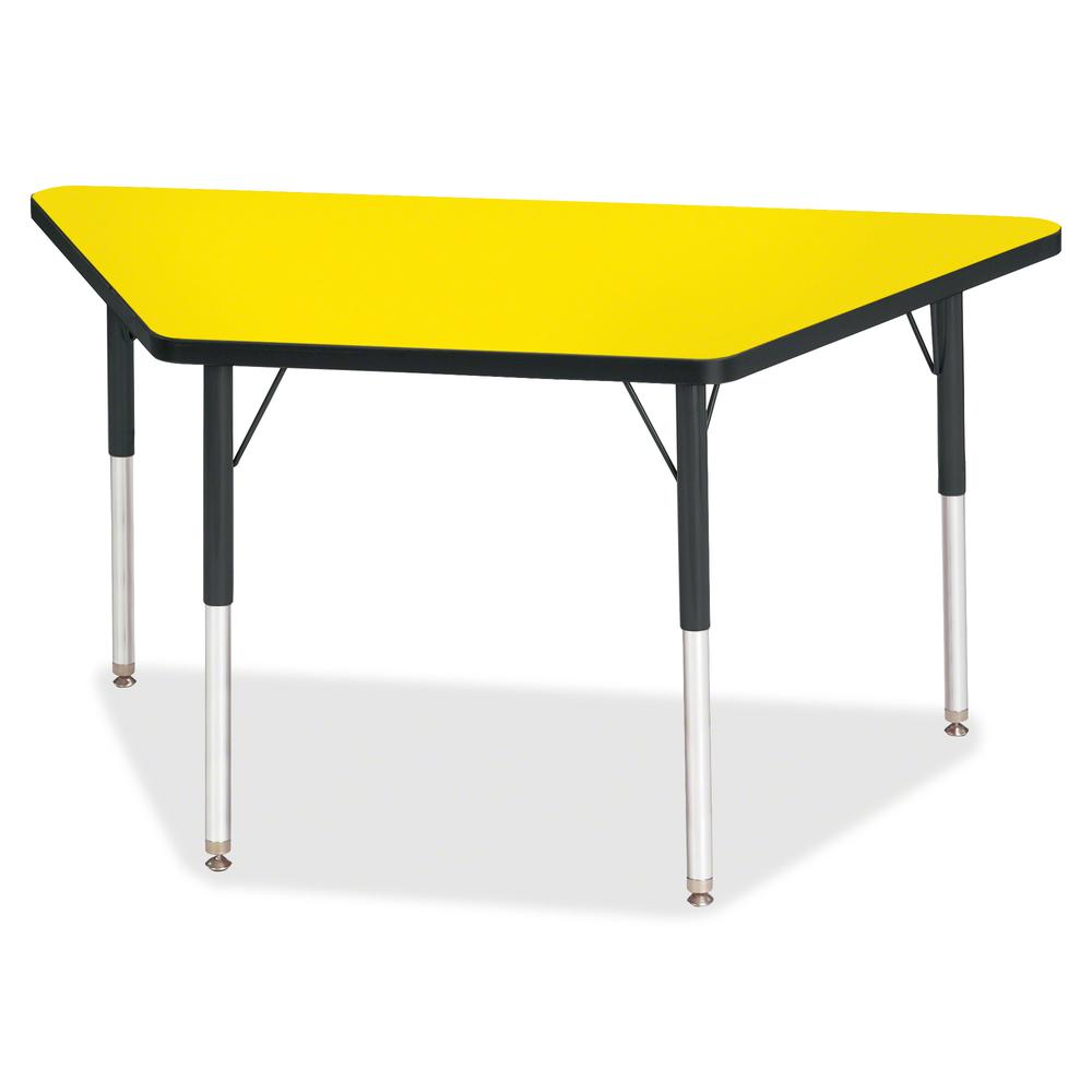 """Berries Adult-Size Classic Color Trapezoid Table - Laminated Trapezoid, Yellow Top - Four Leg Base - 4 Legs - 48"""" Table Top Length x 24"""" Table Top Width x 1.13"""" Table Top Thickness - 31"""" Height - Asse. Picture 2"""