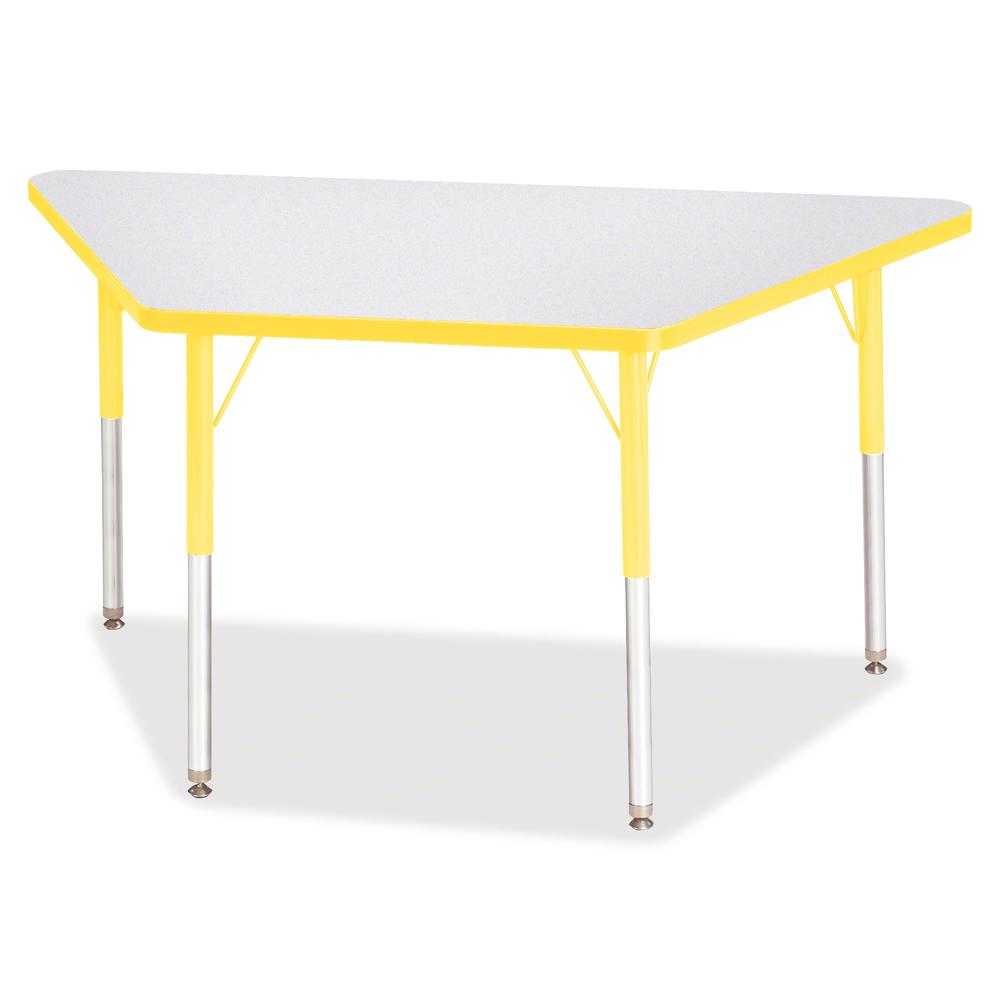 """Berries Adult-Size Gray Laminate Trapezoid Table - Laminated Trapezoid, Yellow Top - Four Leg Base - 4 Legs - 48"""" Table Top Length x 24"""" Table Top Width x 1.13"""" Table Top Thickness - 31"""" Height - Asse. Picture 2"""