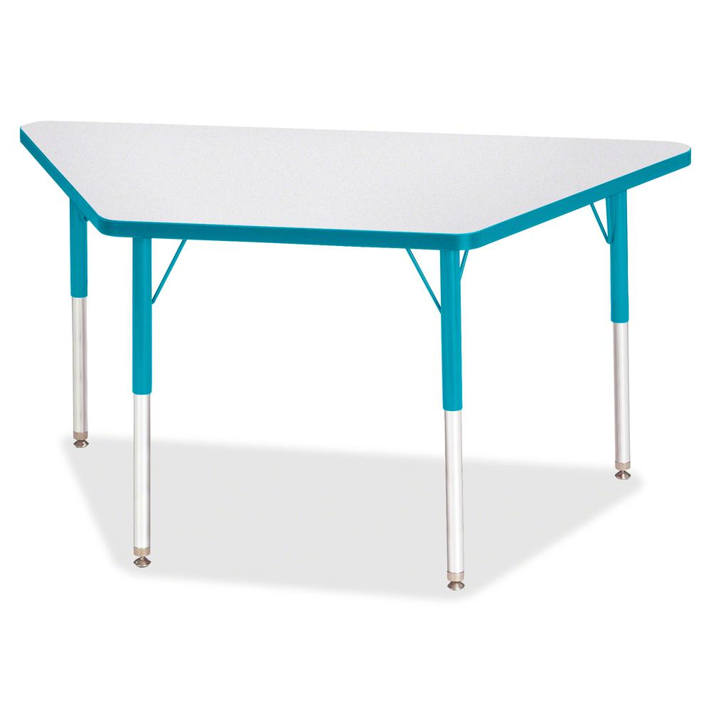 """Jonti-Craft Berries Adult-Size Gray Laminate Trapezoid Table - Laminated Trapezoid, Teal Top - Four Leg Base - 4 Legs - 48"""" Table Top Length x 24"""" Table Top Width x 1.13"""" Table Top Thickness - 31"""" Hei. Picture 3"""
