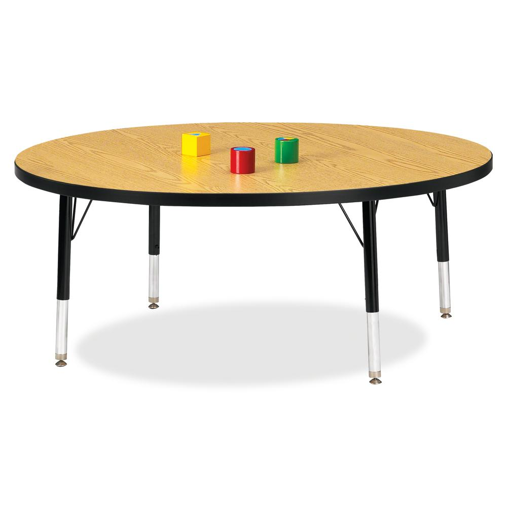 """Berries Toddler Height Color Top Round Table - Black Oak Round, Laminated Top - Four Leg Base - 4 Legs - 1.13"""" Table Top Thickness x 48"""" Table Top Diameter - 15"""" Height - Assembly Required - Powder Co. Picture 2"""