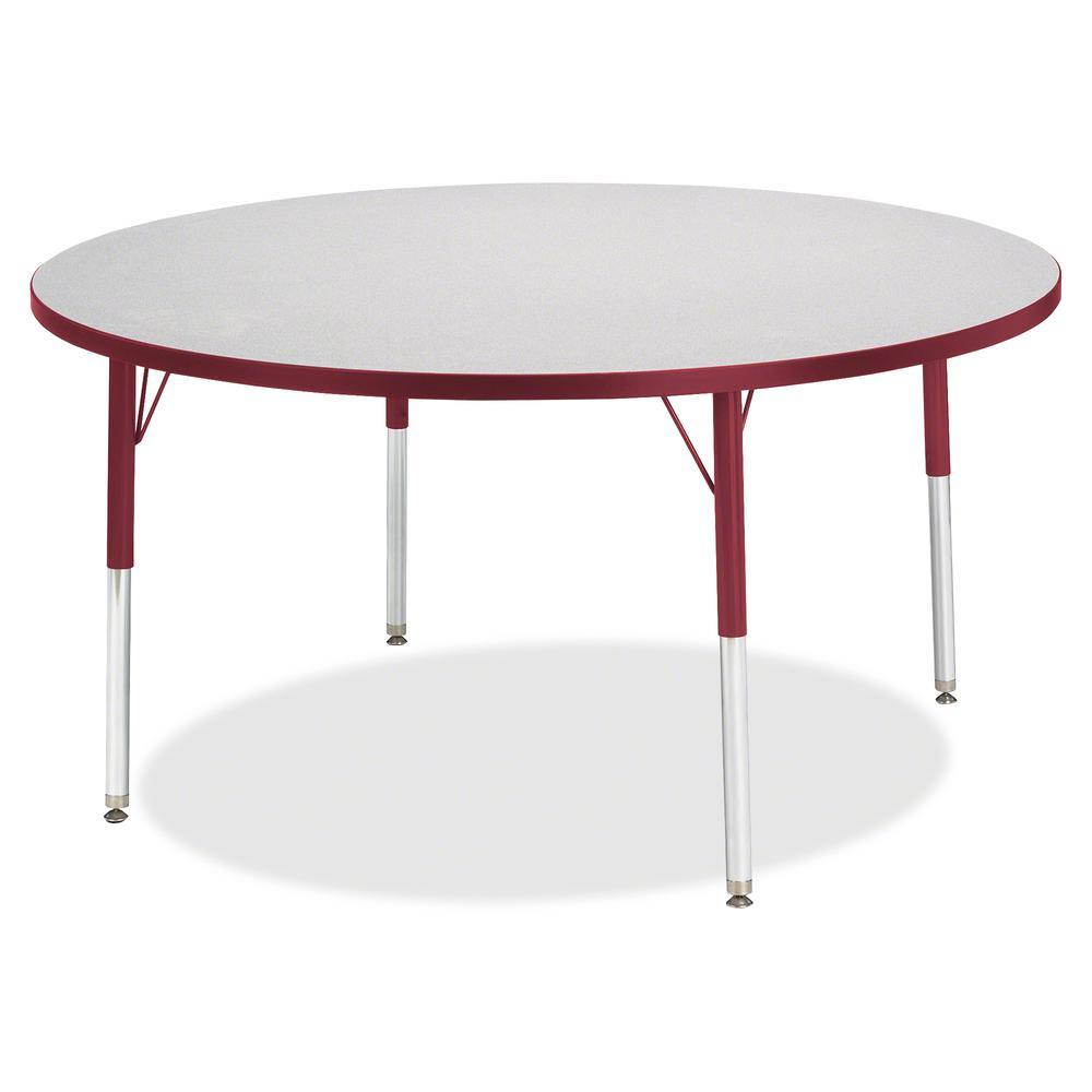 "Berries Toddler Height Color Edge Round Table - Laminated Round, Red Top - Four Leg Base - 4 Legs - 1.13"" Table Top Thickness x 48"" Table Top Diameter - 15"" Height - Assembly Required - Powder Coated. Picture 3"