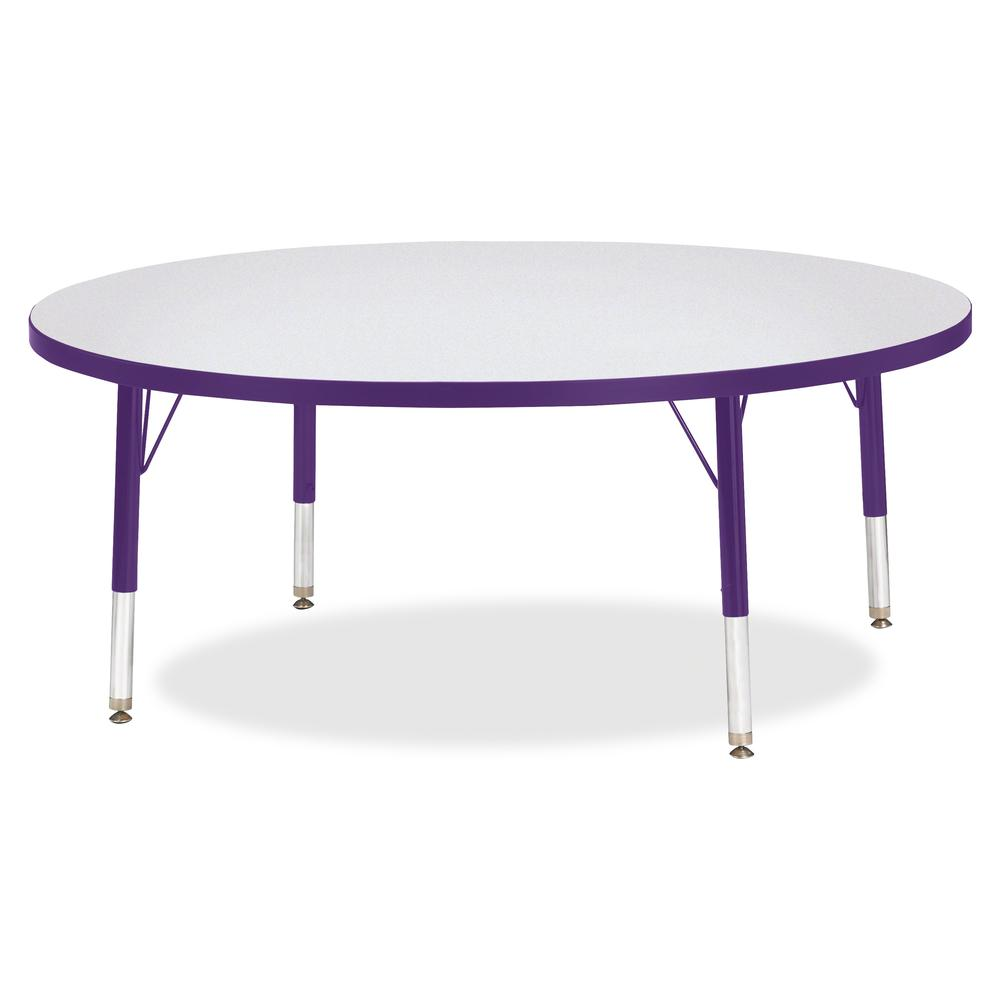 """Berries Toddler Height Color Edge Round Table - Laminated Round, Purple Top - Four Leg Base - 4 Legs - 1.13"""" Table Top Thickness x 48"""" Table Top Diameter - 15"""" Height - Assembly Required - Powder Coat. Picture 3"""