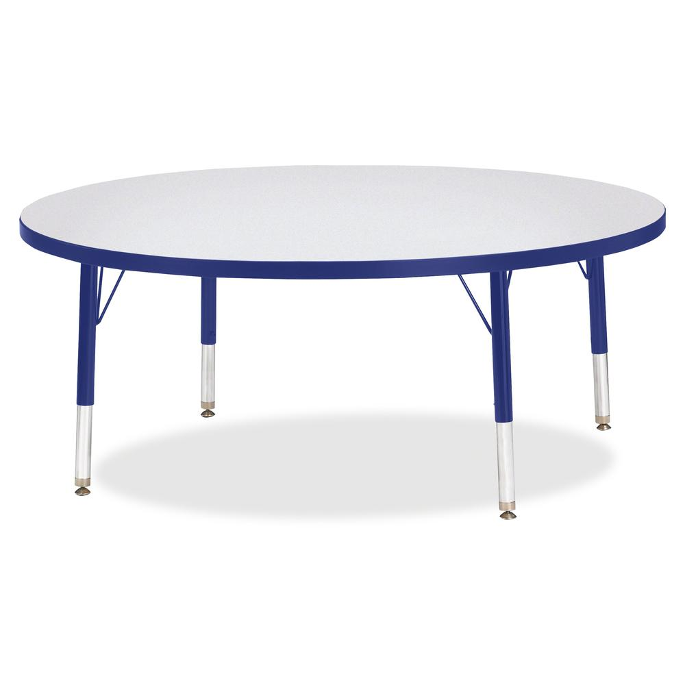 """Berries Toddler Height Color Edge Round Table - Blue Round, Laminated Top - Four Leg Base - 4 Legs - 1.13"""" Table Top Thickness x 48"""" Table Top Diameter - 15"""" Height - Assembly Required - Powder Coated. Picture 2"""