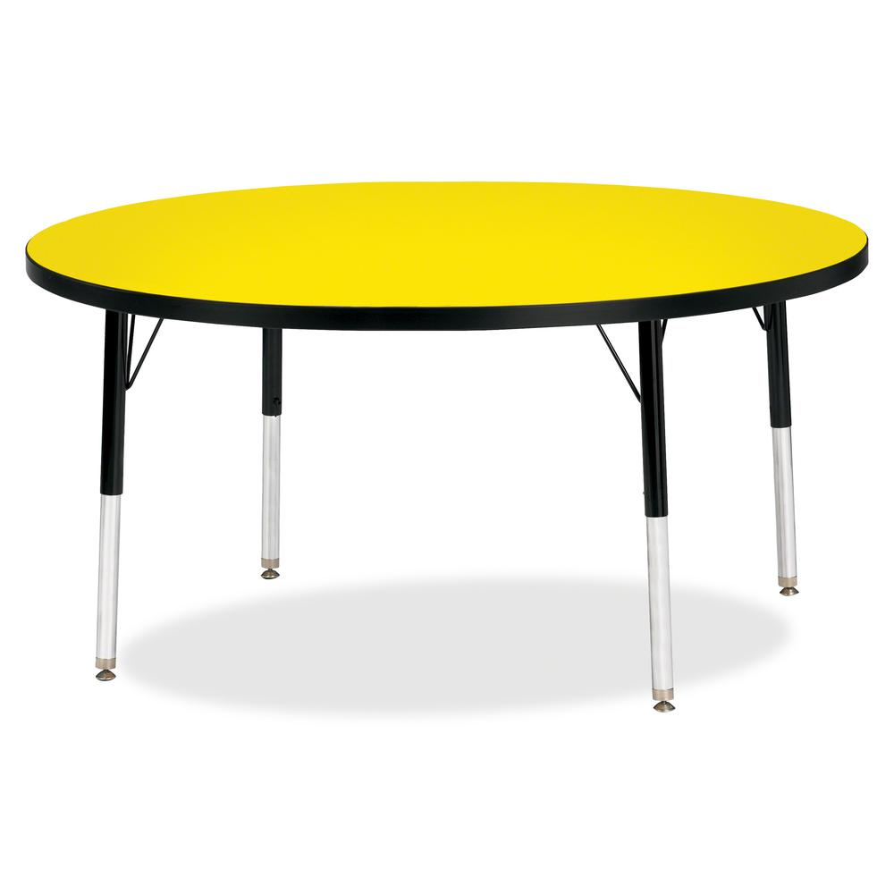 """Berries Elementary Height Color Top Round Table - Laminated Round, Yellow Top - Four Leg Base - 4 Legs - 1.13"""" Table Top Thickness x 48"""" Table Top Diameter - 24"""" Height - Assembly Required - Powder Co. Picture 2"""