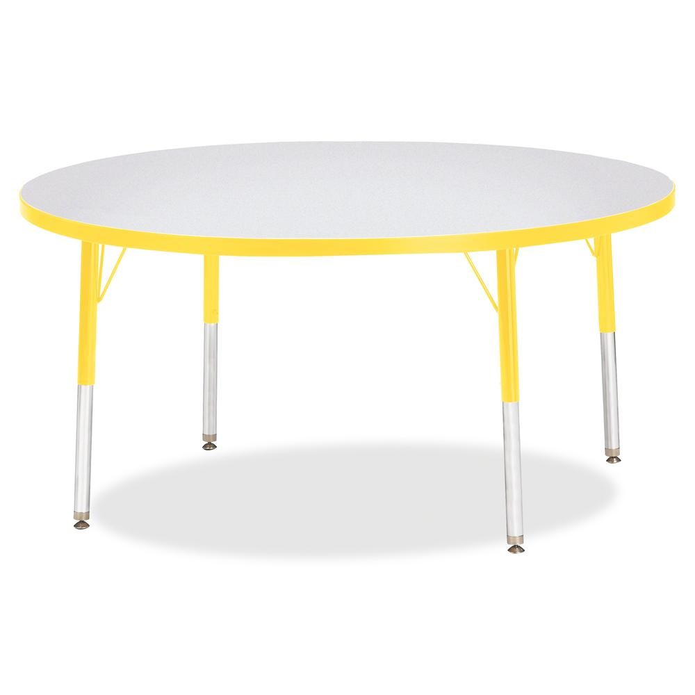 """Berries Elementary Height Color Edge Round Table - Yellow Round Top - Four Leg Base - 4 Legs - 1.13"""" Table Top Thickness x 48"""" Table Top Diameter - 24"""" Height - Assembly Required - Freckled Gray Lamin. Picture 3"""