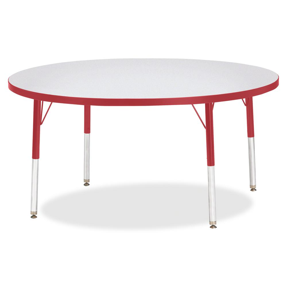 """Berries Elementary Height Color Edge Round Table - Red Round Top - Four Leg Base - 4 Legs - 1.13"""" Table Top Thickness x 48"""" Table Top Diameter - 24"""" Height - Assembly Required - Freckled Gray Laminate. Picture 3"""