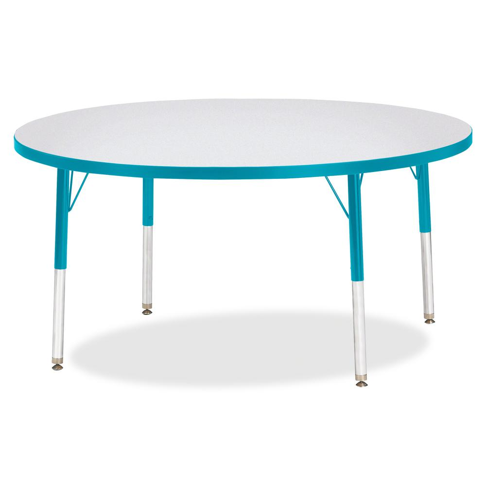 """Berries Elementary Height Color Edge Round Table - Teal Round Top - Four Leg Base - 4 Legs - 1.13"""" Table Top Thickness x 48"""" Table Top Diameter - 24"""" Height - Assembly Required - Freckled Gray Laminat. Picture 2"""