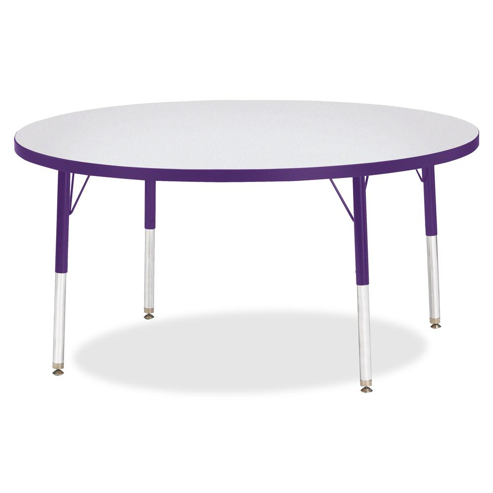 "Berries Elementary Height Color Edge Round Table - Purple Round Top - Four Leg Base - 4 Legs - 1.13"" Table Top Thickness x 48"" Table Top Diameter - 24"" Height - Assembly Required - Freckled Gray Lamin. Picture 3"
