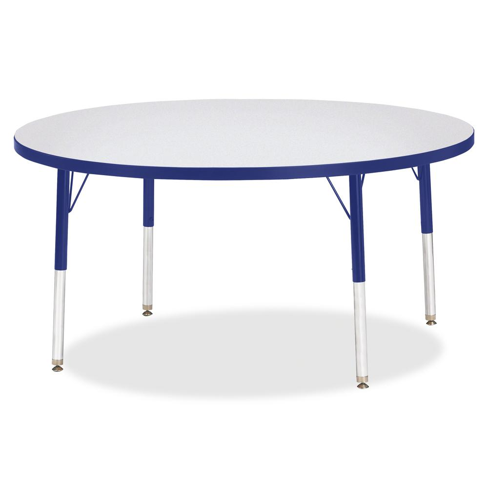 "Berries Elementary Height Color Edge Round Table - Blue Round Top - Four Leg Base - 4 Legs - 1.13"" Table Top Thickness x 48"" Table Top Diameter - 24"" Height - Assembly Required - Freckled Gray Laminat. Picture 2"