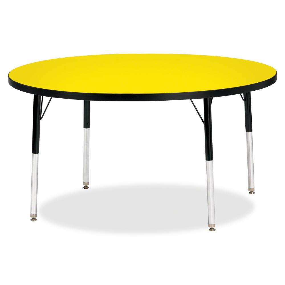 "Berries Adult Height Color Top Round Table - Laminated Round, Yellow Top - Four Leg Base - 4 Legs - 1.13"" Table Top Thickness x 48"" Table Top Diameter - 31"" Height - Assembly Required - Powder Coated. Picture 2"