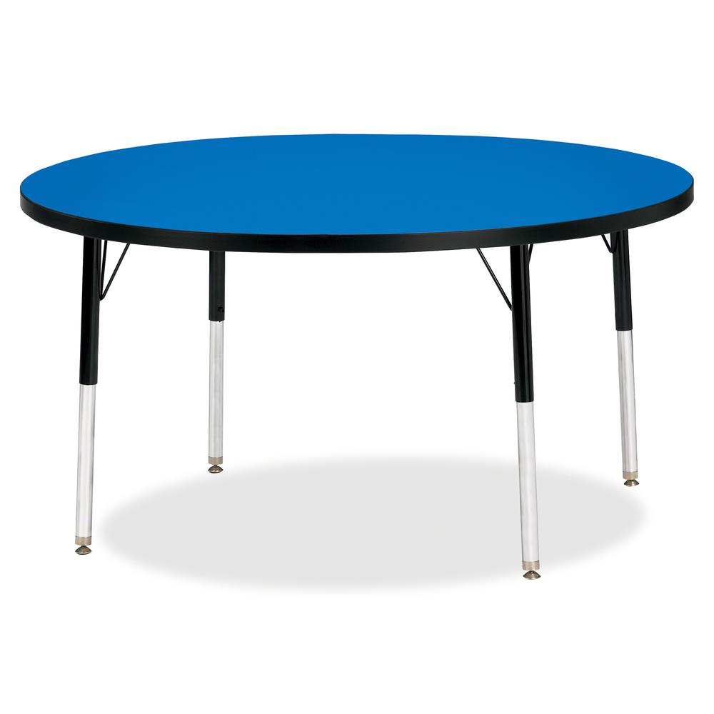 "Berries Adult Height Color Top Round Table - Blue Round, Laminated Top - Four Leg Base - 4 Legs - 1.13"" Table Top Thickness x 48"" Table Top Diameter - 31"" Height - Assembly Required - Powder Coated. Picture 2"