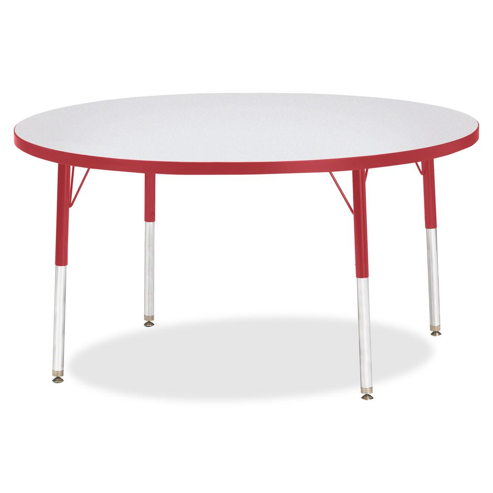 "Jonti-Craft Berries Adult Height Color Edge Round Table - Laminated Round, Red Top - Four Leg Base - 4 Legs - 1.13"" Table Top Thickness x 48"" Table Top Diameter - 31"" Height - Assembly Required - Powd. Picture 3"