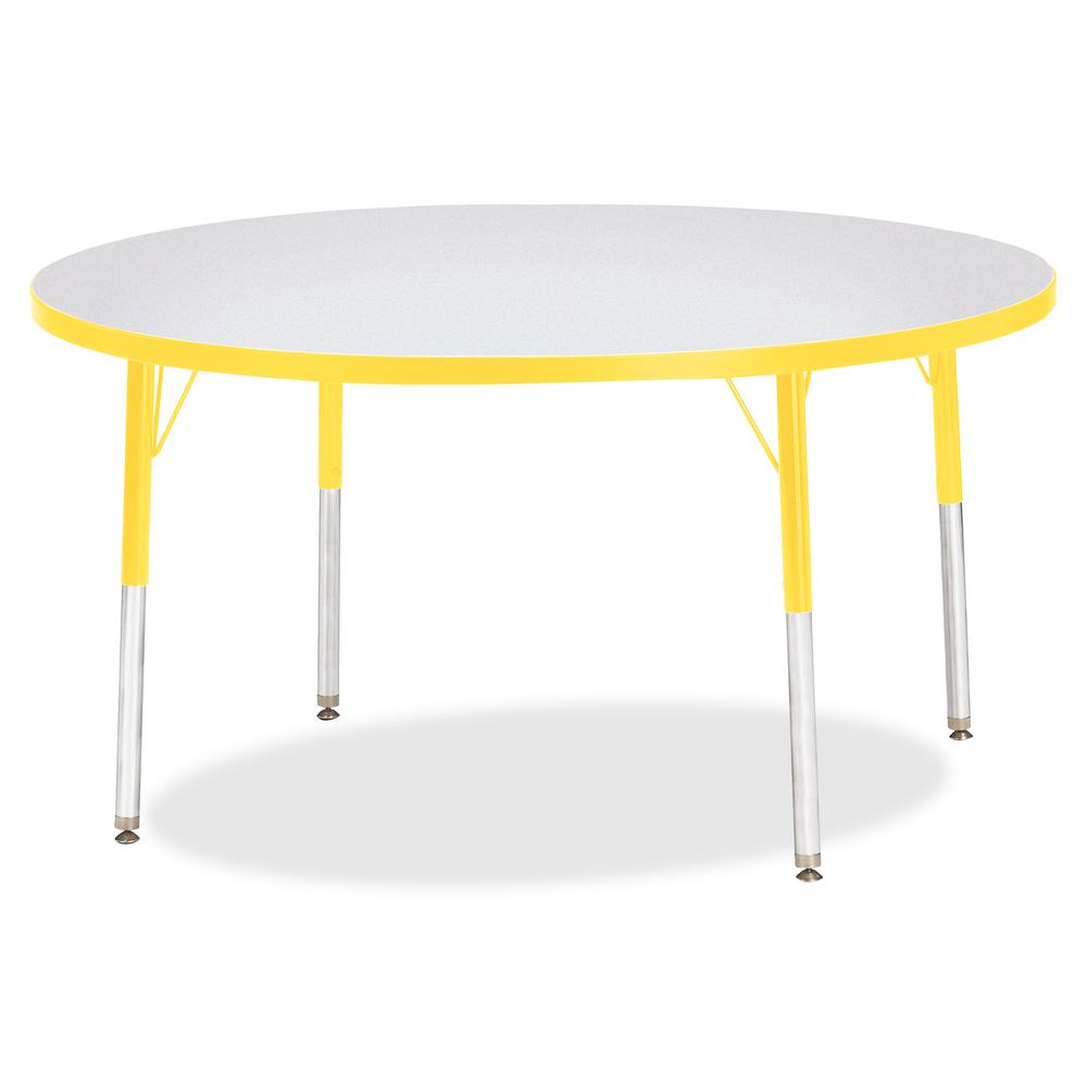 "Berries Adult Height Color Edge Round Table - Laminated Round, Yellow Top - Four Leg Base - 4 Legs - 1.13"" Table Top Thickness x 48"" Table Top Diameter - 31"" Height - Assembly Required - Powder Coated. Picture 3"