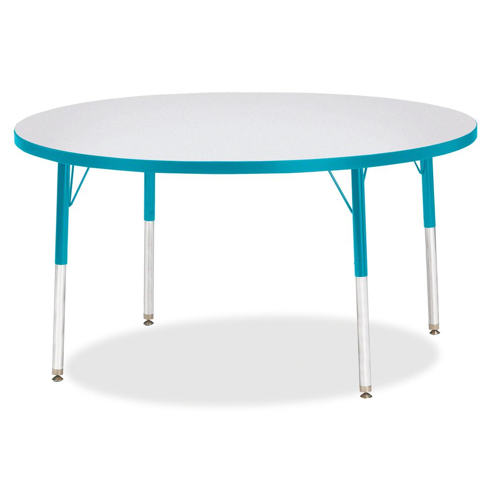 "Jonti-Craft Berries Adult Height Color Edge Round Table - Laminated Round, Teal Top - Four Leg Base - 4 Legs - 1.13"" Table Top Thickness x 48"" Table Top Diameter - 31"" Height - Assembly Required - Pow. Picture 3"