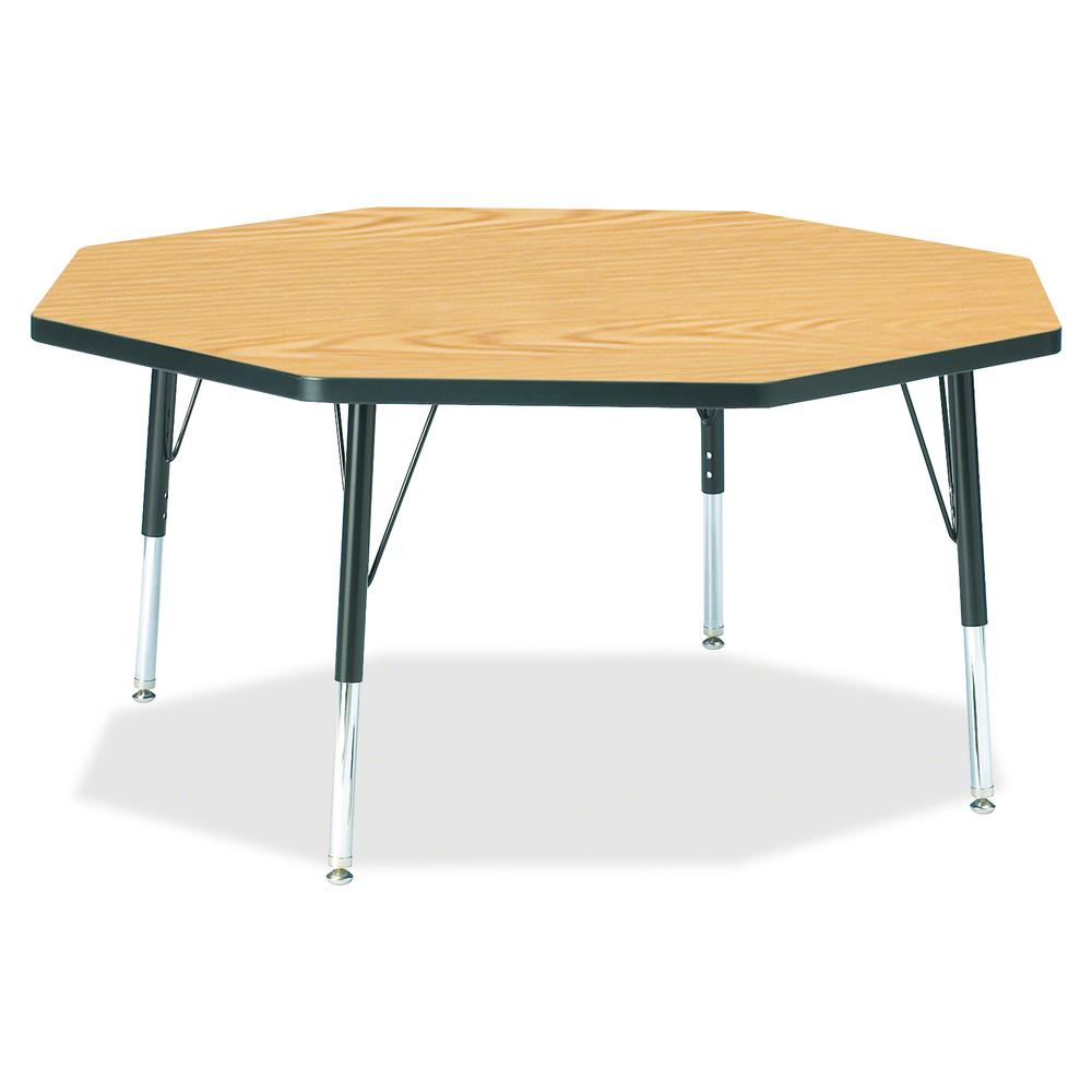 "Berries Toddler Height Color Top Octagon Table - Black Oak Octagonal, Laminated Top - Four Leg Base - 4 Legs - 1.13"" Table Top Thickness x 48"" Table Top Diameter - 15"" Height - Assembly Required - Pow. Picture 2"