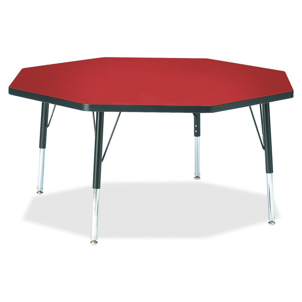 "Berries Toddler Height Color Top Octagon Table - Laminated Octagonal, Red Top - Four Leg Base - 4 Legs - 1.13"" Table Top Thickness x 48"" Table Top Diameter - 15"" Height - Assembly Required - Powder Co. Picture 2"