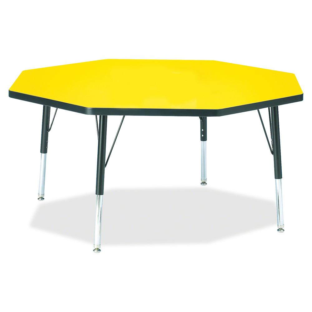 """Berries Toddler Height Color Top Octagon Table - Laminated Octagonal, Yellow Top - Four Leg Base - 4 Legs - 1.13"""" Table Top Thickness x 48"""" Table Top Diameter - 15"""" Height - Assembly Required - Powder. Picture 2"""