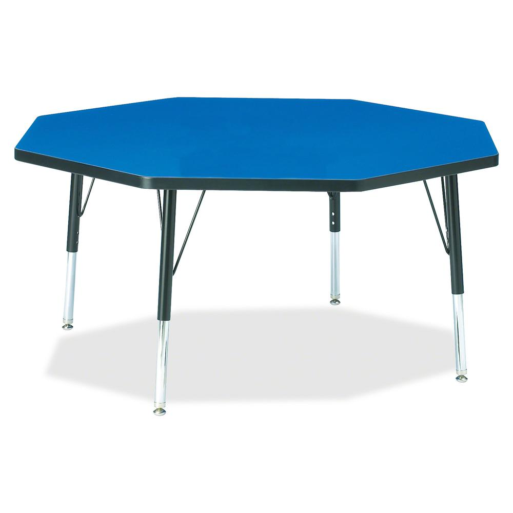 "Berries Toddler Height Color Top Octagon Table - Blue Octagonal, Laminated Top - Four Leg Base - 4 Legs - 1.13"" Table Top Thickness x 48"" Table Top Diameter - 15"" Height - Assembly Required - Powder C. Picture 2"