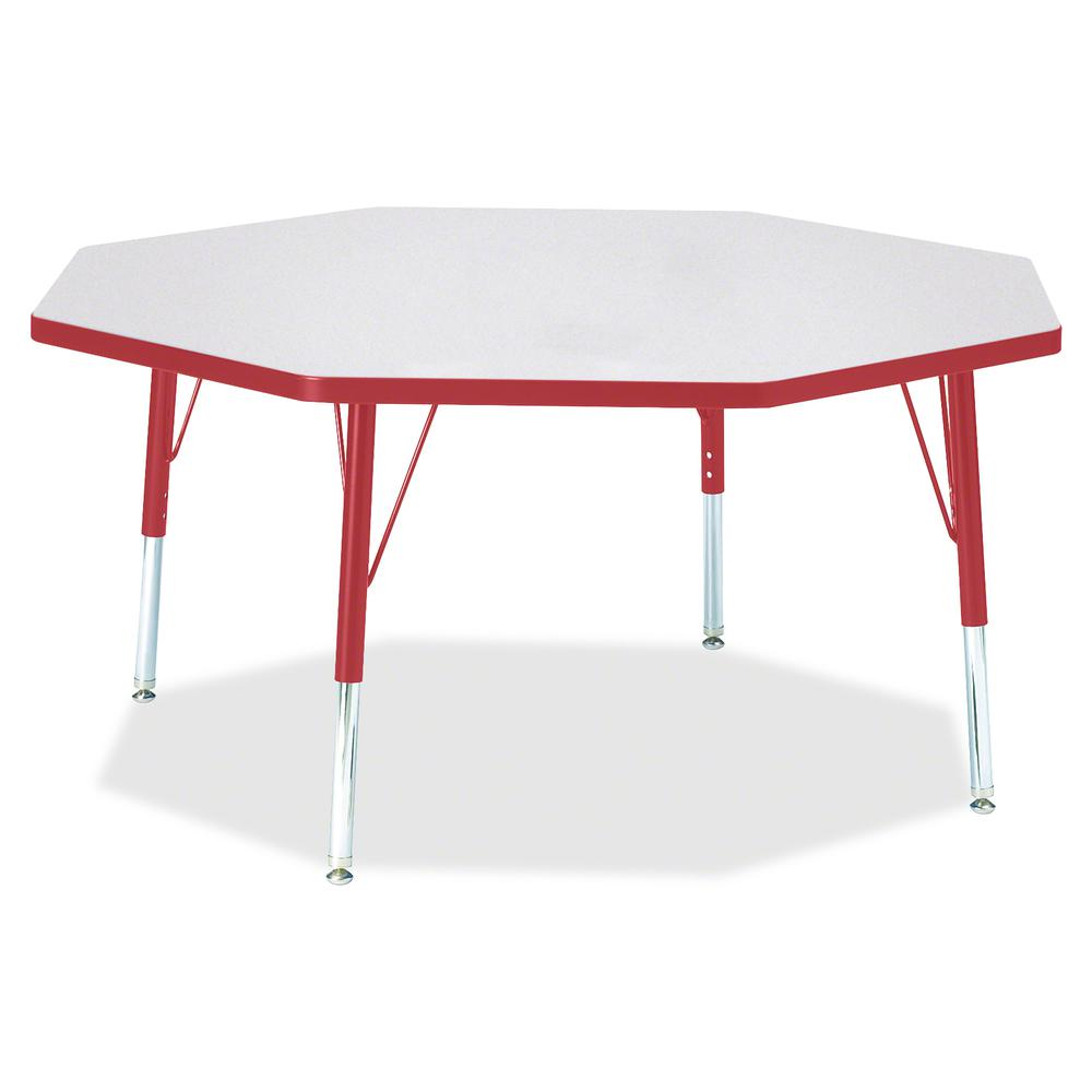 """Berries Toddler Height Color Edge Octagon Table - Laminated Octagonal, Red Top - Four Leg Base - 4 Legs - 1.13"""" Table Top Thickness x 48"""" Table Top Diameter - 15"""" Height - Assembly Required - Powder C. Picture 3"""
