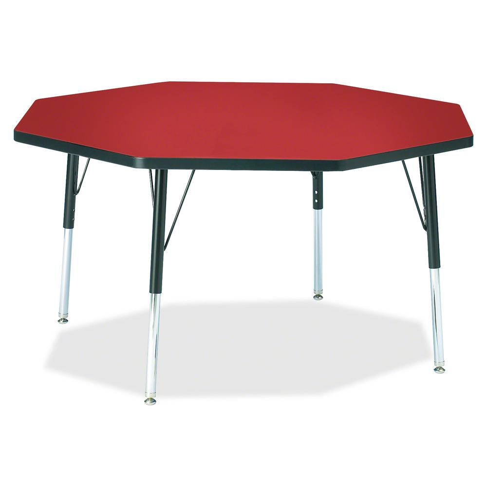 """Berries Elementary Height Color Top Octagon Table - Laminated Octagonal, Red Top - Four Leg Base - 4 Legs - 1.13"""" Table Top Thickness x 48"""" Table Top Diameter - 24"""" Height - Assembly Required - Powder. Picture 2"""