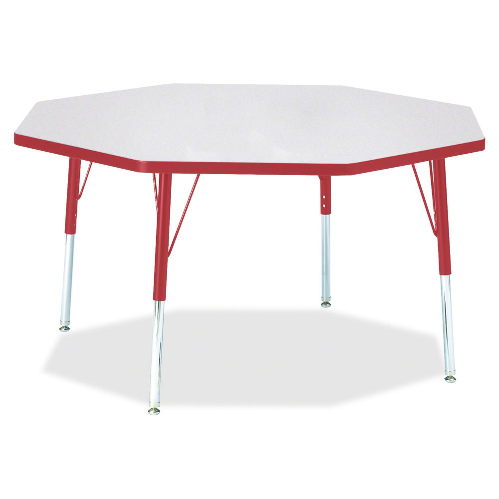 "Berries Elementary Height Color Edge Octagon Table - Laminated Octagonal, Red Top - Four Leg Base - 4 Legs - 1.13"" Table Top Thickness x 48"" Table Top Diameter - 24"" Height - Assembly Required - Powde. Picture 3"